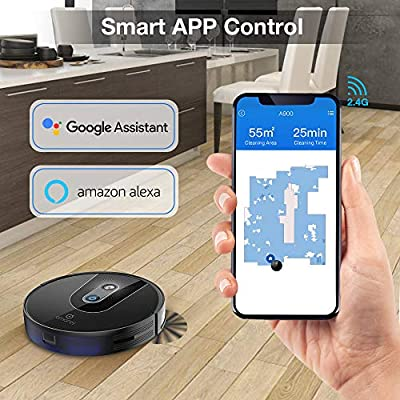 Robot Vacuum, Smart Navigating Robot Vacuum Cleaner, Wi-Fi Connected, Works with Alexa, Visual Mapping, APP Controls, 1400Pa Strong Suction, Self-Charging, Best for Pet Hair, Hard Floors to Carpet