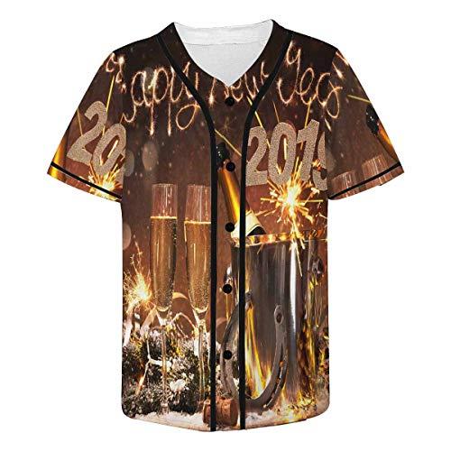 INTERESTPRINT Men's Happy New Years Eve Celebration Flutes Fashion Baseball Jersey T-Shirt 4XL