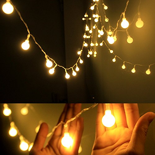 echosari [Remote & Timer] 16 Feet 50 LED Outdoor Globe String Lights 8 Modes Battery Operated Frosted White Ball Fairy Light(dimmable, Ip65 Waterproof, Warm White) -