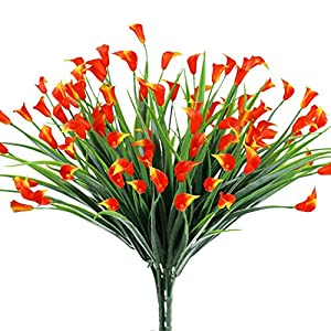E-HAND Lily Artificial Flowers Fake Plant Outdoor Faux Red Flora Greenery Bushes for Home Garden Indoor Outside Decor 4PCS 64