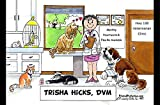 Personalized Friendly Folks Cartoon Side Slide Frame Gift: Veterinarian - Female Great for animal hospital, thank you gift, veterinary office