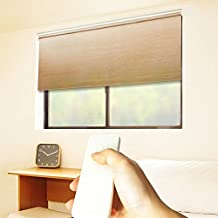 "Godear Design Cordless Roller Window Shades, Motorized-Remote, Natural Woven - 27"" W x 72"" H, Wheat"