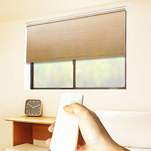 Taiwan Present Godear Design Cordless Roller Window Shades, Motorized-Remote, Natural Woven - 35'' W x 72'' H, Wheat