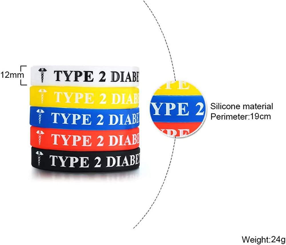 Mealguet Jewelry 5 Pack Assorted Colors Medical Alert Type 1//2 Diabetes Silicone Bracelets Wristband for Men Women,7.5