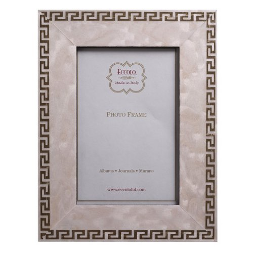 Eccolo Marquetry Greek Key Wood Frame, Holds a 8 by 10-Inch Photo