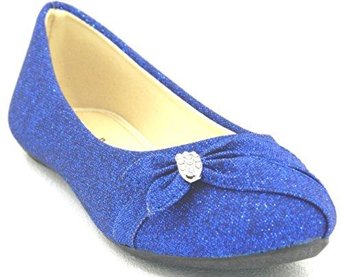 Dames Glitter Glitter Ballet Strass Platte Ballerina Dames Avond Slip Op Schoen Blauw