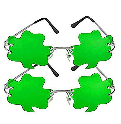 2 Pack, St. Patrick's Day Shamrock Leaves glasses, Irish Clover Sunglasses, Green, By 4E's - Shamrock Sunglasses