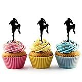 TA0204 Muay Thai Kickboxing Silhouette Party Wedding Birthday Acrylic Cupcake Toppers Decor 10 pcs