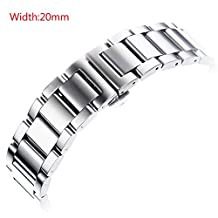 GOOQ Stainless Steel 20mm Push Button Hidden Clasp Watch Band for Moto 360 2nd Gen (Male 42mm),Pebble Time Round,Samsung Galaxy Gear S2 Classic Watch and Any 20mm Flat Lug Width Normal Watches (Silver)