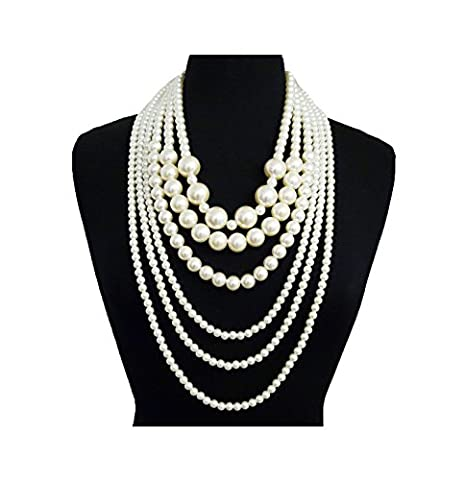 Women's Six or Eight Multi-Strand Simulated Pearl Statement Necklace and Earrings Set (Six Multi / Cream (Multi Strand Statement Necklace)