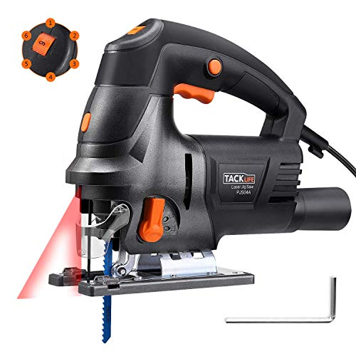 Tacklife Upgraded 6.7 Amps 3000 Rpm Jig Saw with Laser Guide, Variable Speed, Double Bevel Cutting(0-45°), Vacuum Pipe, Ideal for Cutting Wood, Plastic, Aluminium - PJS04A ()