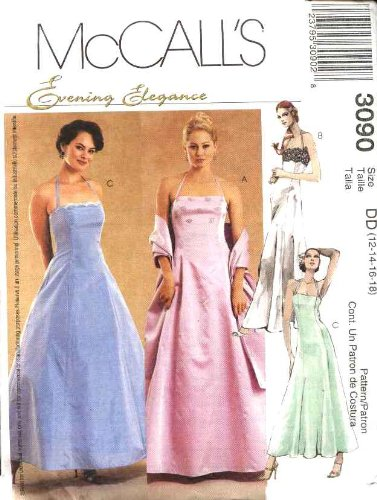 McCall's Sewing Pattern 3090 Misses Size 12-18 Evening Gown Formal Prom Halter Full Skirt Dress (Sewing Dress Prom For Patterns)