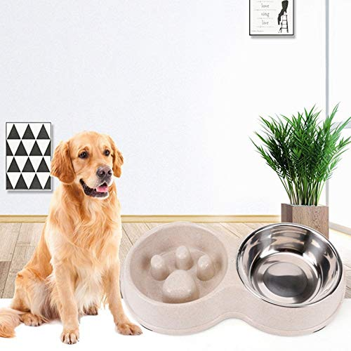 Blue NYDZDM Pet Double Bowls Healthy Diet Stainless Steel Anti -chocking Slow Nutring Bowl e Water Bowl Prevenire Obesity Food Bowls (Colore: Blue)