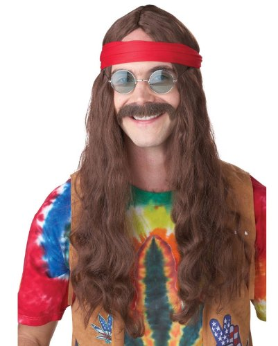 California Costumes Men's Hippie Man Wig and Moustache, Brown, One Size