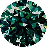 RINGJEWEL 3.32 CT VVS1 9.62 MM Round Loose Real Moissanite 4 Pendant/Ring Dark Blueish Green Color Stone