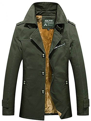 Warm Plus Coat Jacket Parka Trench Cotton Green Army Velvet JIINN Thick Mens Uk5793z Military Winter Blazer Outdoor Windbreaker qxEUqfv0