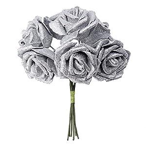 Artificial Flower - SODIAL(R)7 Foam Rose Artificial Flower Glitter Bridal Bouquet Home Wedding Decoration Silver 67