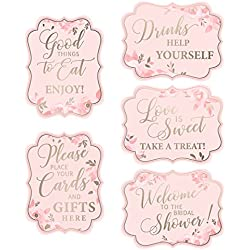 Lillian Rose Set of 5 5 Pink & Gold Bridal Shower Signs