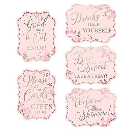 Bridal Shower Sign - Lillian Rose Set of 5 Pink