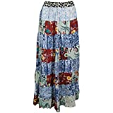 Mogul Interior Womens Patchwork Skirt Vintage Patches Ethnic Peasant Long Skirts S/M (Red)