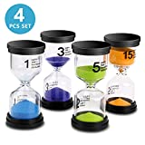 Sand Timer VAGREEZ 4 Colors Hourglass Sand Timer Clock Toothbrush Timer 1min / 2mins / 5mins /10mins for Kids Games Classroom Home Office Kitchen Use (Pack of 4) (B-P-G-Y)