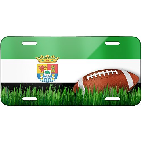Football with Flag Extremadura region Spain Metal License Plate 6X12 Inch by Saniwa