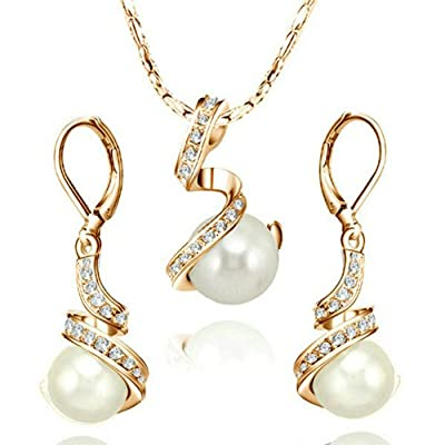 [Pearl Series] Yoursfs 18k Gold Plated Austrian Crystal Pearl Earring and Necklace Set Mother's Day Gift
