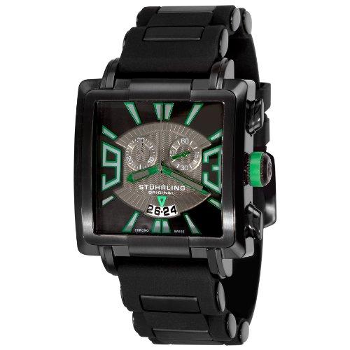 Stuhrling Original Men's 278A.335671 Classic Metropolis Il Capo Chronograph Swiss Quartz Date Black Watch (Chronograph Pvd Swiss)