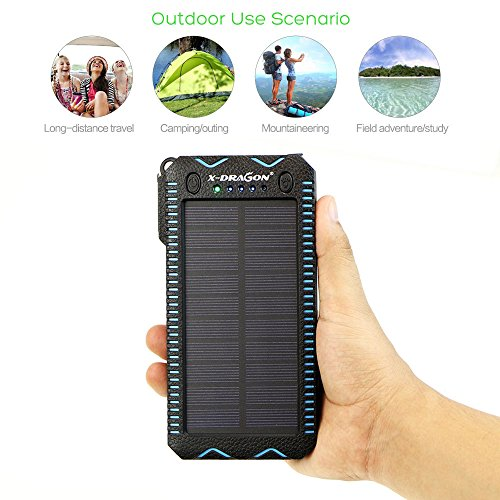 Solar Charger, X-DRAGON 15000mAh with Cigarette Lighter, Solar Power Bank Dual Super Bright LED Light Water-Resistant Dustproof Shockproof Dual USB Charger for iPhone, Samsung Galaxy and More-Blue
