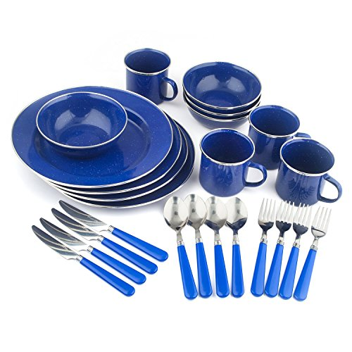 Stansport Enamel Camping Tableware Set, 24-Piece, Blue (Renewed)