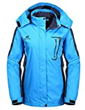 Diamond Candy Womens Waterproof Raincoat with Hood for Hiking Blue S