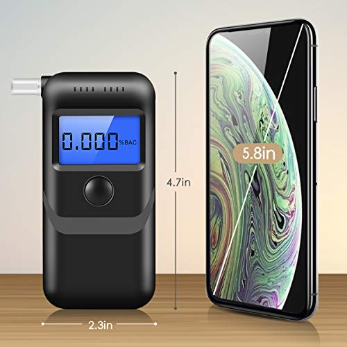 Breathalyzer, [2019 New Upgraded] Portable Breath Alcohol Tester LED Screen  with 5 Mouthpieces for Home Use, Black