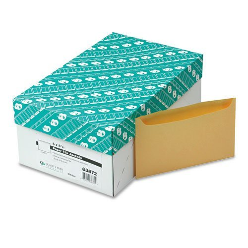 Paper File Jackets, 5'' x 8 1/8'', 28 lb Manila, Buff, 500/Box, Sold as 1 Box