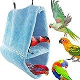 Zero Parrot Tent Bed Nest Hammock Hanging Pet Bird Nest Winter Warm Cave Cage Plush Hut,Blue