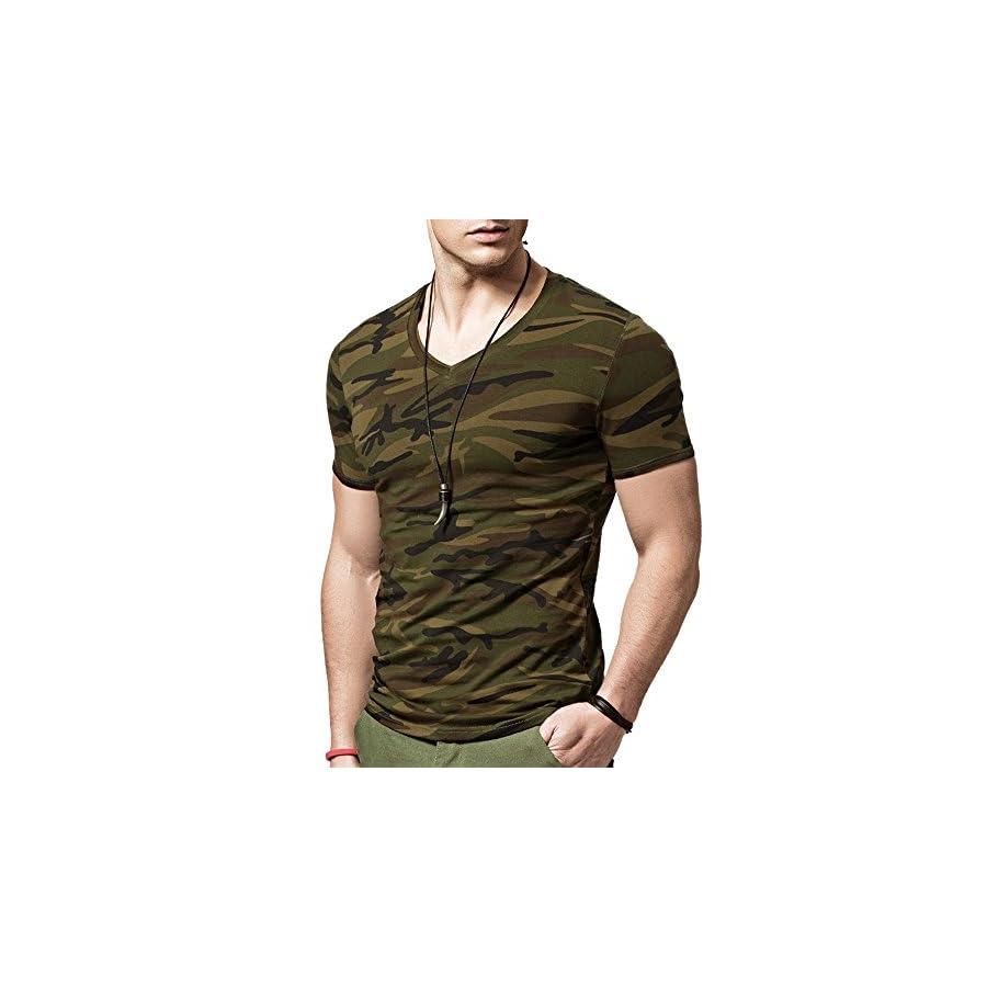 XShing Mens Comfort Soft Fitness Stretchy Crew Neck Camo T Shirt