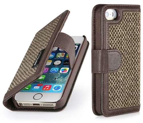 """StilGut """"Talis"""" Wallet, Book Type Genuine Leather & Donegal Tweed Case for Apple iPhone SE & iPhone 5s & iPhone 5, Coffee Brown"""