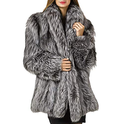 LIYT Women's Winter Thick Outerwear Warm Long Fox Faux Fur Coat Parka Jacket Overcoat Plus Size
