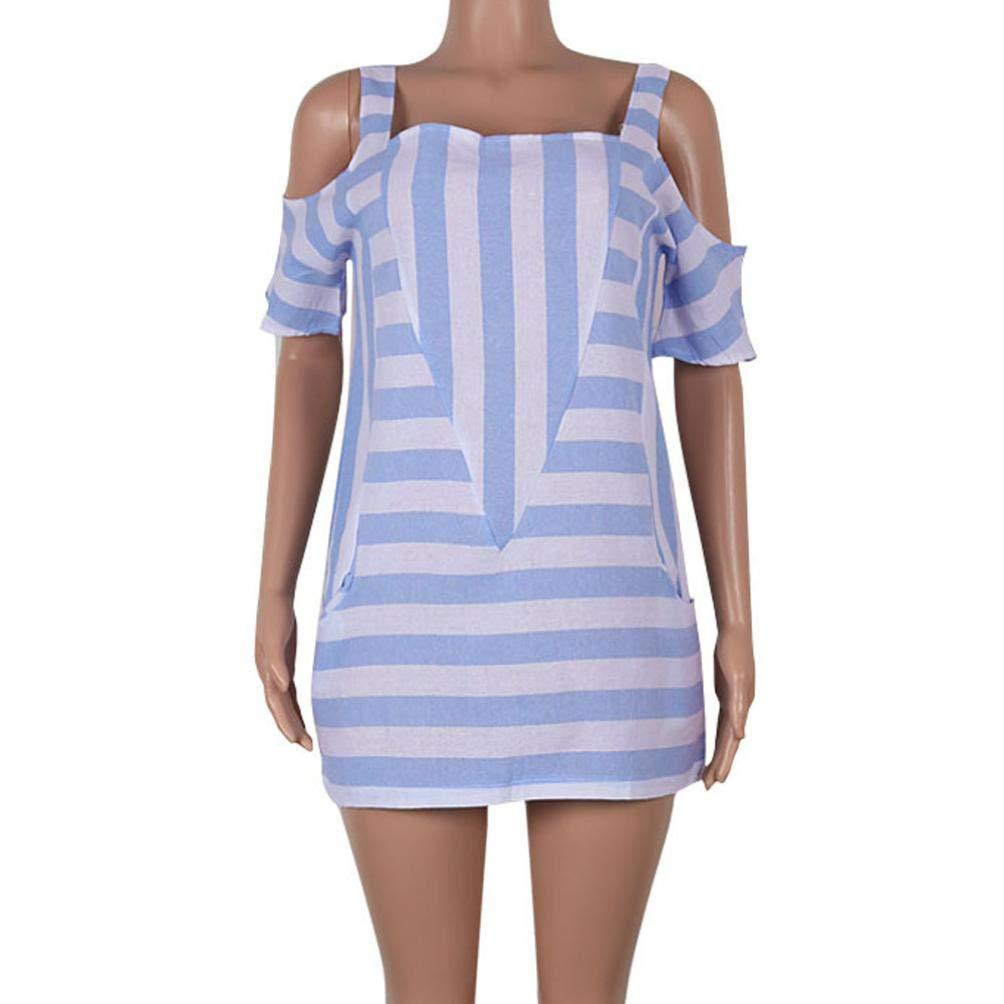 Amazon.com: Sunhusing Women Casual Off-Shoulder Striped Sling Short Sleeve Tops Loose Shirts Blouse: Clothing