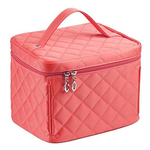 EN'DA big size Nylon Cosmetic bag with quality zipper single layer travel Makeup bags (Watermelon Red) from EN'DA professional