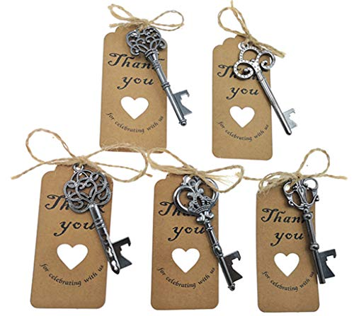 50pcs Skeleton Key Bottle Opener Wedding Party Favor Souvenir Gift with Escort Tag and Jute Rope(Gun Black Tone,5 styles)