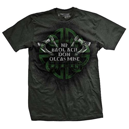 """Ranger Up Gaelic """"Only Evil Need Fear Me"""" T-shirt with Celtic Cross, Gray"""