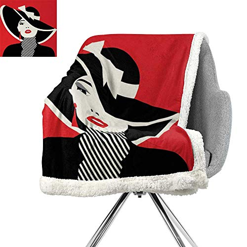 ScottDecor Girls Lightweight Blanket,French Style Icon in Shabby Chic Classical Vintage Hat and Striped Coat Design Print,Red Black,Blanket as Bedspread W59xL78.7 ()