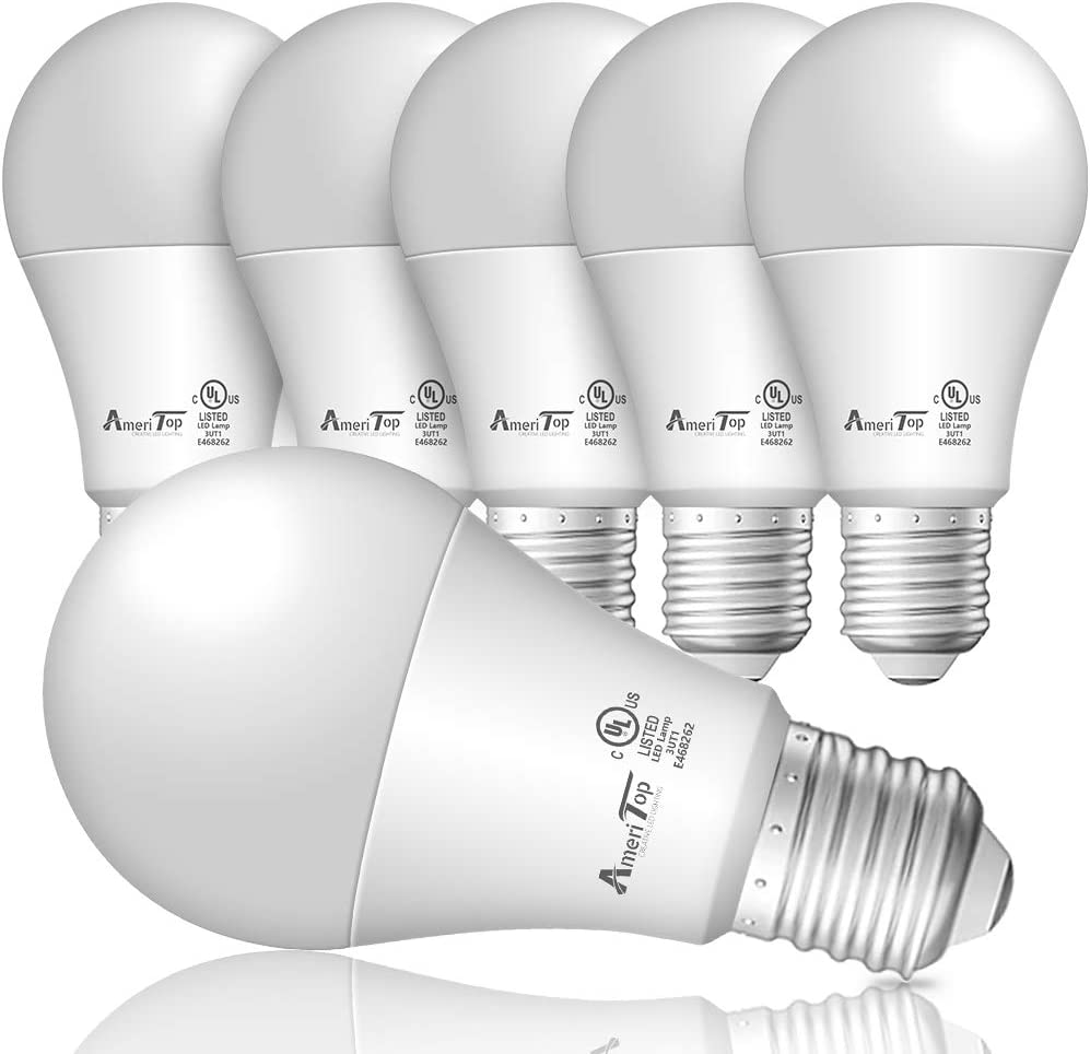 A19 LED Light Bulbs- 6 Pack, AmeriTop Efficient 14W(100W Equivalent) 1600 Lumens General Lighting Bulbs, UL Listed, Non-Dimmable, E26 Standard Base (5000K Daylight)