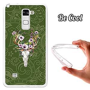 Becool® - Funda Gel Flexible para LG Stylus 2 .Carcasa TPU fabricada con la mejor Silicona protege, se adapta a la perfección a tu Smartphone y con nuestro diseño exclusivo Cráneo de Ciervo con Flores