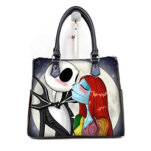 (Fashionable Female Women Barrel Type Handbags Pouch Jack and Sally Print)