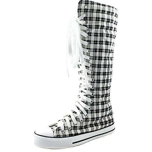 High Sneaker Boot - DailyShoes Women's Knee High Punk Sneaker Boots Punk-Hi Plaid, 12