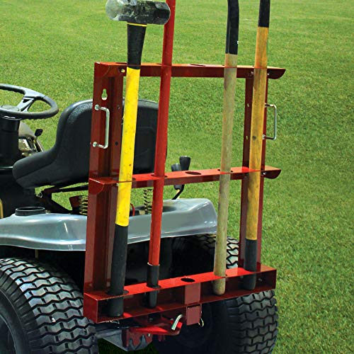 MoJack Multi-Use Hitch + Tool Carrier Combo - Fits Most Residential & Zero Turn Riding Lawn Mowers or ATVs, Provides Easy Tool Transportation, 60 lb. Weight Capacity (Weights Tractor)