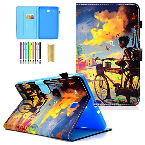 """LittleMax Galaxy Tab E 9.6 Case, Slim Fit Folio Flip Synthetic Leather Protective Card Slots Cover for Galaxy Tab E 9.6"""" SM-T560 Tablet - Bicycle Boy"""