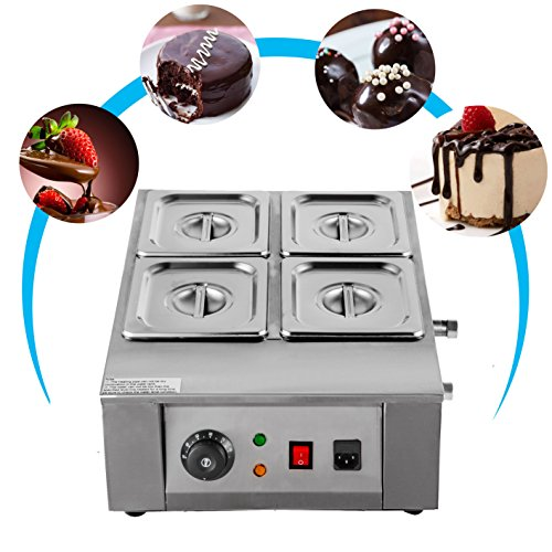 VEVOR 1KW Electric Chocolate Melting Pot Machine 4Tanks 17.6lbs Capacity Commercial Home Electric Chocolate Heater Electric Chocolate Melter for Bakeries Cafes and Chocolate Fountains (4 Tanks) from VEVOR