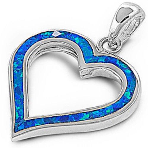 Oxford Diamond Co Love Blue Australian Opal Heart .925 Sterling Silver Pendant Necklace spo13799-bo